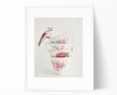 The Bird and the Tea Cups - 8x10 photo of a stack of vintage tea cups with a sweet little bird perched at the top, still life photograph