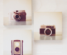 Vintage Cameras - set of 3 photo blocks