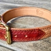 Reddish Brown / Natural Carved and Stamped Dog Collar