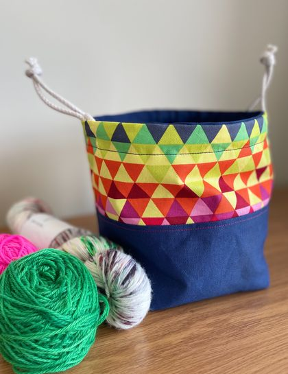 Project Bag - Blue and Multi-coloured Geometric