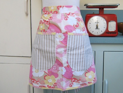 SALE Bella Apron - Pink and Stripe