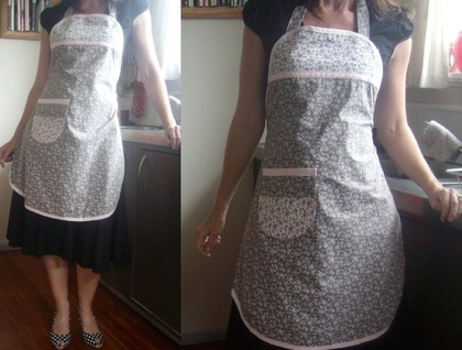 SALE - Full Apron - Grey and Pink