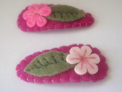 Felt Hair Clips - Pink Flowers