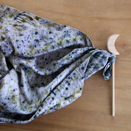 Naturally Dyed Play Silk with Wand - Starry Night