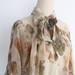 Eco-Printed Silk Blouse with Neck-Tie - size S/M