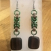 Chainmail earrings: Wood