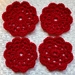 Red Crochet Table Coaster Set