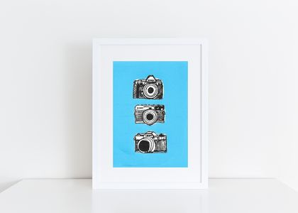 Portrait Camera Print Linocut & Screen Printed