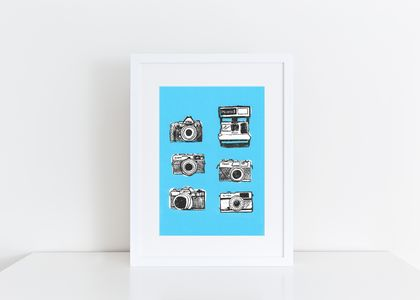 Stacked Camera Print Linocut & Screen Printed
