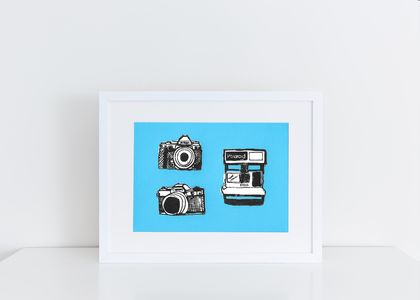 Landscape Camera Print Linocut & Screen Printed