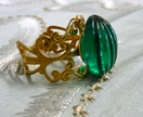 Antique Gold Filigree Ring - with Vintage Emerald Glass Cabochon