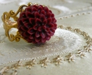 Antique Gold Filigree Ring - with Deep Wine Chrysanthemum Cabochon