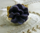 Antique Gold Filigree Ring - with Smoky Purple Carnation Cabochon