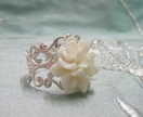 Silver Filigree - White Magnolia Ring