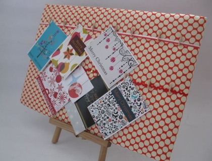 Christmas Card Keeper (Amy Butler Cherry Full Moon) - Donated by Lilypad Designs