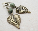Lichen earrings: bamboo agate & bronze leaves - Donated by Whiteleaf Jewellery