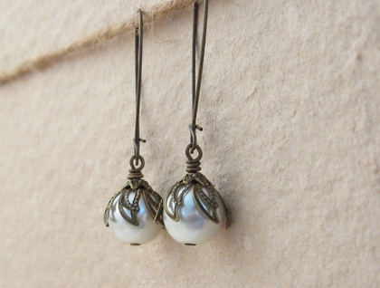 White Buds earrings: glass pearls with leafy caps - Donated by Whiteleaf Jewellery
