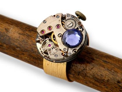 Tanzanite Swarovski Steampunk Inspired Ring - Donated by Closet Gothic
