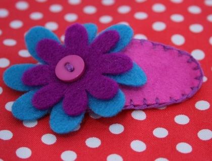 Felt Flower Barrette - Pink/Blue - Donated by Crazy Crafter