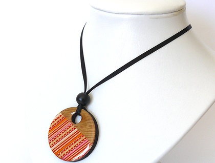 Japanese Paper Bamboo Disc Necklace #004 - Emma Anderton - Freedom Creative
