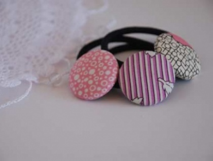 Custom Button Hair Tie (set of three) - Donated by Songbird Designs