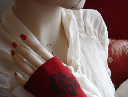 Merino fingerless gloves- Red Floral - Donated by Kate Watts