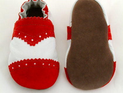 Baby Brogues - white/red - Donated by Lou's Shoes