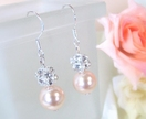 Swarovski Pearl Rhinestone Peach Earrings - Donated by Artisan Jouel