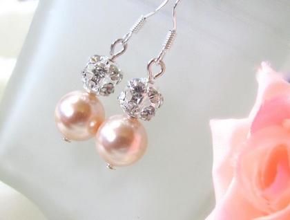 Swarovski Pearl Rhinestone Peach Earrings - Donated by Artisan Jouel