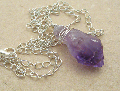 Rough Amethyst With Silver: wire-wrapped stone pendant on chain ...