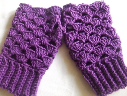 Fingerless Gloves Crocheted Purple Shell - Donated by JacBer Creations