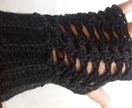 Grey Lacy Shell Crocheted Fingerless Gloves - Donated by JacBer Creations