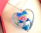 Puff Heart Lampwork Glass Necklace - Donated by Artisan Jouel