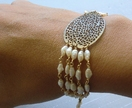 Filigree brass leaf and pearl bracelet - Donated by Lunachia Jewellery