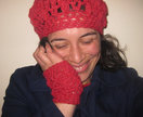 Red Latticed Fingerless Mitts - Merino, Angora and Nylon