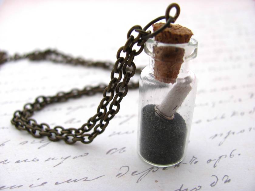 Black Sand Secret Message Glass Vial Necklace