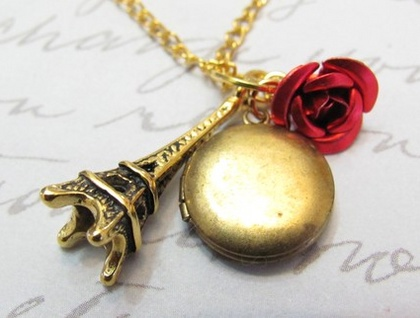 Mini Paris - Eiffel Tower, Vintage Locket and Red Rose Necklace