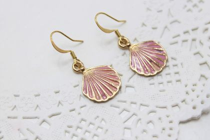 Pink Enamel Sea Shell Earrings