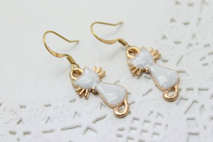 White Enamel Cat Earrings