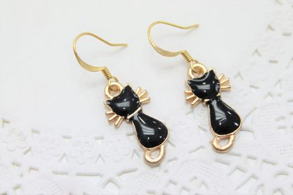 Black Enamel Cat Earrings