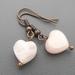 Rose Quartz Copper Heart Earrings