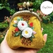 """Hand embroidered kiss lock bag """"Rose Bunch design"""""""