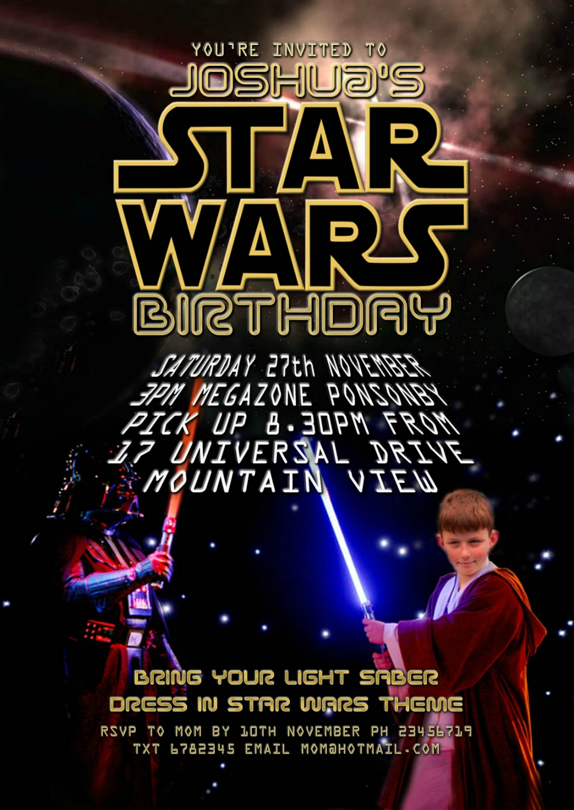 Star Wars The Force Awakens Printable Party Invitation