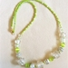 """Necklace: Lisianthus """"Mariachi"""" white and green"""