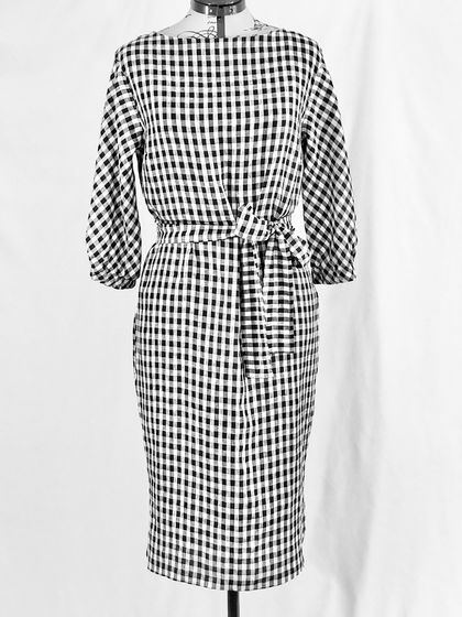 Dorothy Dress - Navy Gingham Linen