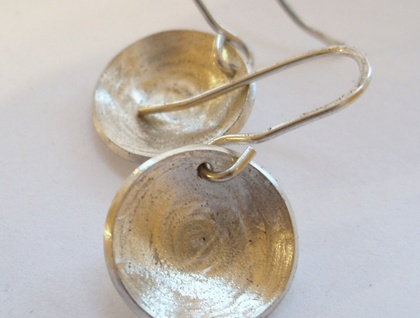 Sterling silver handmade concave/convex earrings