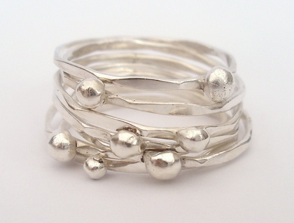 7 Silver Stacking Rings with silver balls