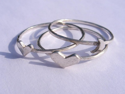 Heart and moon stacking rings