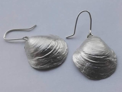 Handmade sterling silver shell earrings