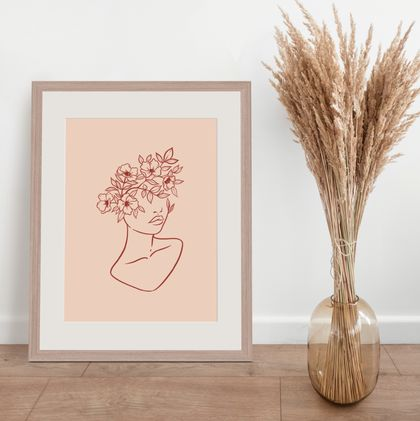 Woman with Flowers | Simple Line Wall Art